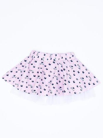 Różowa rozkloszowana spódnica dla dziewczynki z nadrukiem