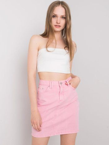Różowa spódnica jeansowa Clair STITCH & SOUL