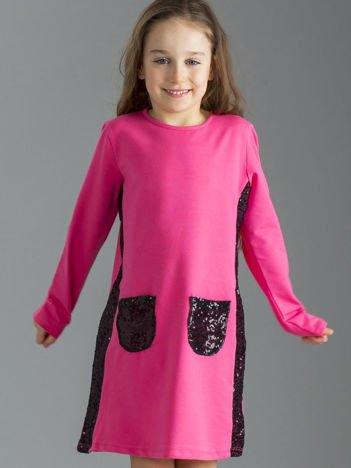 Różowa sukienka dziewczęca z cekinami