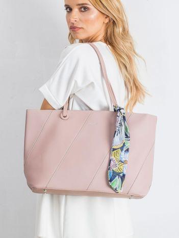 Różowa torba shopper bag z apaszką