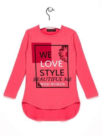 Różowa tunika dla dziewczynki z nadrukiem