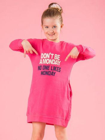 Różowa tunika dziewczęca z napisem