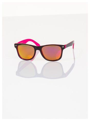 Różowe Dziecięce lustrzanki z filtrami UV okulary z klasyczną oprawką WEYFARER NERD odporne na wyginania