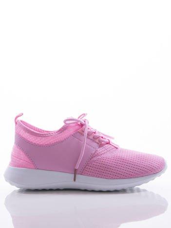 Różowe ażurowe buty sportowe z wstawką z eco skóry, na sprężystej podeszwie