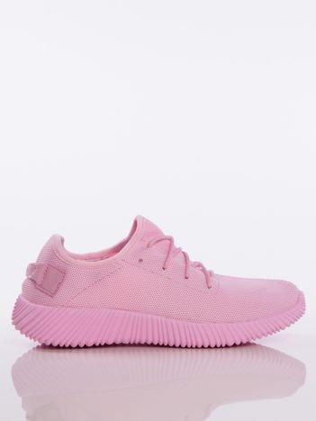Różowe buty sportowe pattern z tkaniny z uchwytem z tyłu