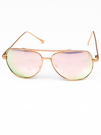 Różowe okulary w stylu PILOTKI AVIATORY lustrzanka