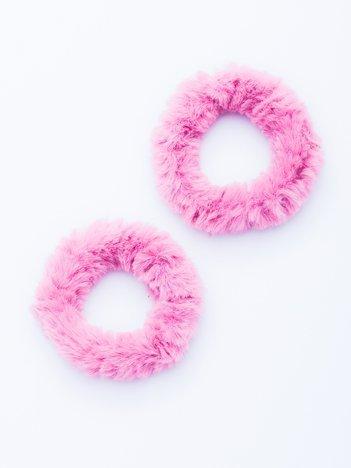 Różowe puszyste gumki do włosów 2 szt.