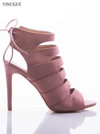 Różowe sandały Vinceza z ozdobnym sznurowaniem na pięcie