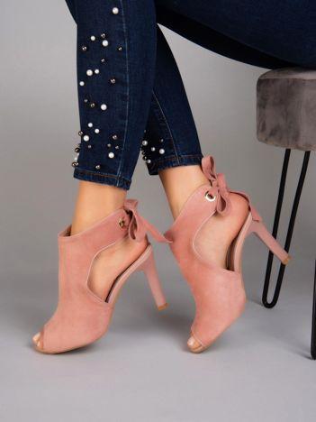Różowe sandały na szpilkach SERGIO LEONE wiązane na tyle cholewki