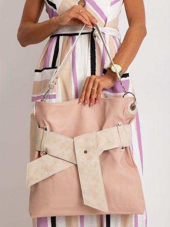 Różowo-beżowa torba z ekoskóry