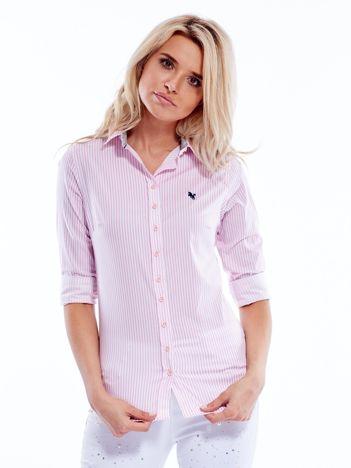 Różowo-biała koszula damska w paski
