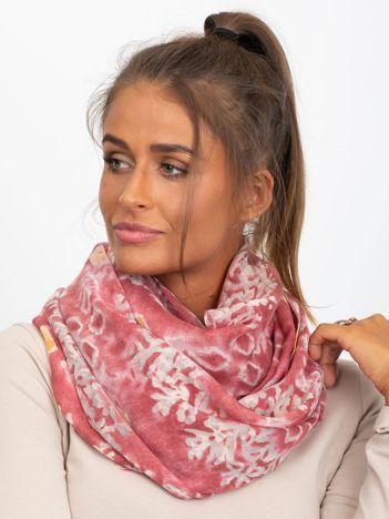 Różowo-brązowa chusta z motywem
