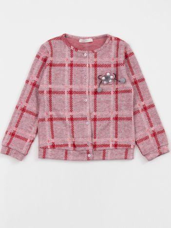 Różowo-czerwony sweter dziecięcy w kratkę
