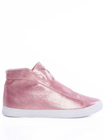 Różowo-srebrne slipony z efektem glitter i cholewką do kostki