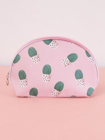 Różowo-zielona kosmetyczka w kaktusy
