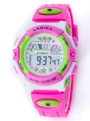 Różowo-zielony zegarek młodzieżowy wielofunkcyjny z datą i alarmem