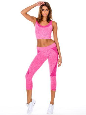 Różowy komplet sportowy top i legginsy