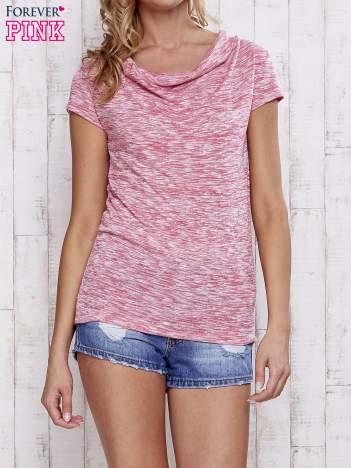 Różowy melanżowy t-shirt z lejącym dekoltem