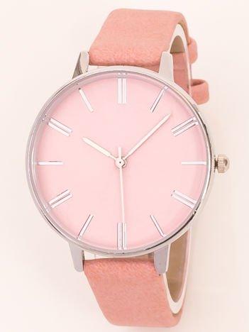 Różowy pastelowy klasyczny zegarek damski na wąskim pasku