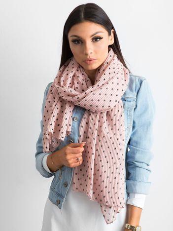 Różowy plisowany szalik w groszki