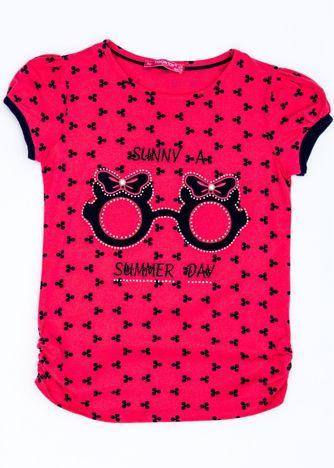 Różowy t-shirt dla dziewczynki z nadrukiem i aplikacją