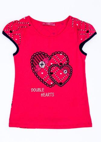 Różowy t-shirt dla dziewczynki z sercami