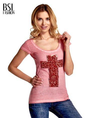Różowy t-shirt z cekinami