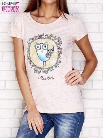 Różowy t-shirt z nadrukiem sowy