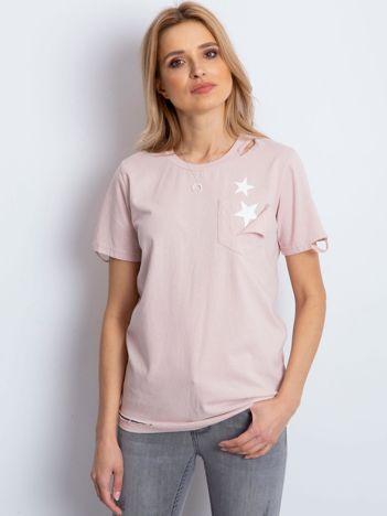 Różowy t-shirt z rozdarciami