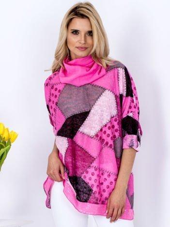Różowy wzorzysty cienki sweter oversize