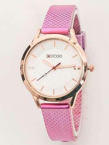 Rózowy zegarek damski z bransoletą stylizowaną na mesh