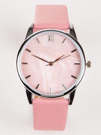 Różowy zegarek damski z perłową tarczą