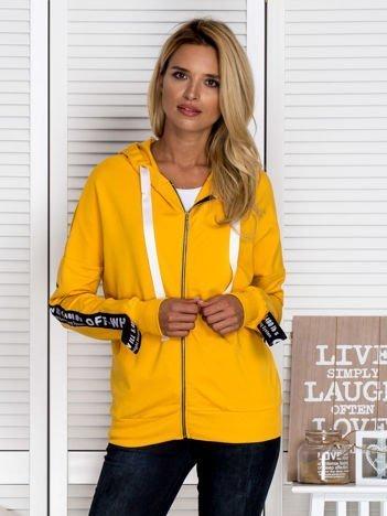 Rozpinana bluza z kapturem i napisami żółta
