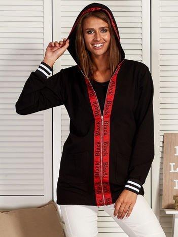 Rozpinana bluza z kapturem i ozdobną taśmą czarna