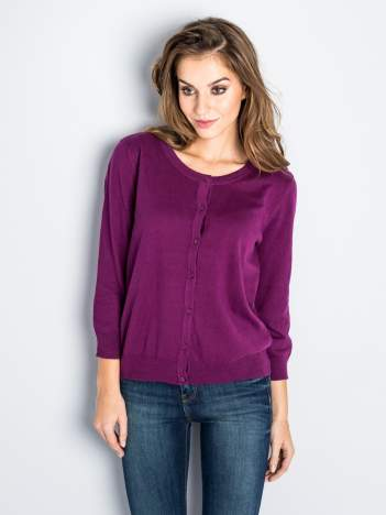 Rozpinany sweter damski kardigan fioletowy