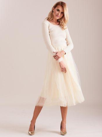 SCANDEZZA Beżowa sukienka midi