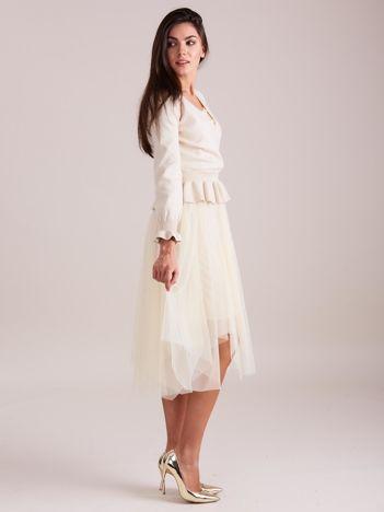 SCANDEZZA Beżowa tiulowa sukienka