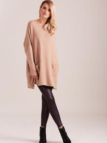 SCANDEZZA Beżowy długi sweter