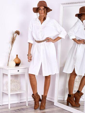 SCANDEZZA Biała bawełniana sukienka szmizjerka