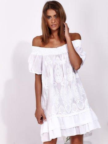 SCANDEZZA Biała sukienka mini hiszpanka z koronką