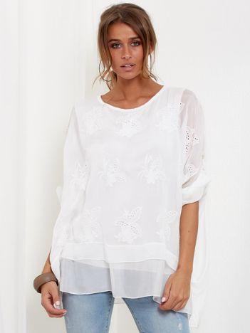 SCANDEZZA Biała zwiewna bluzka oversize z haftem
