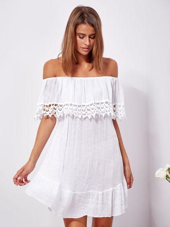 SCANDEZZA Biała zwiewna sukienka hiszpanka z falbanami