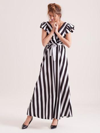 SCANDEZZA Biało-czarna sukienka w paski