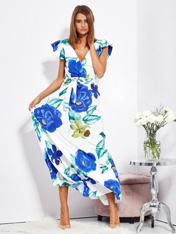 SCANDEZZA Biało-niebieska długa sukienka w kwiaty