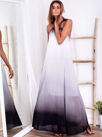 SCANDEZZA Biało-szara długa sukienka wiązana na szyi