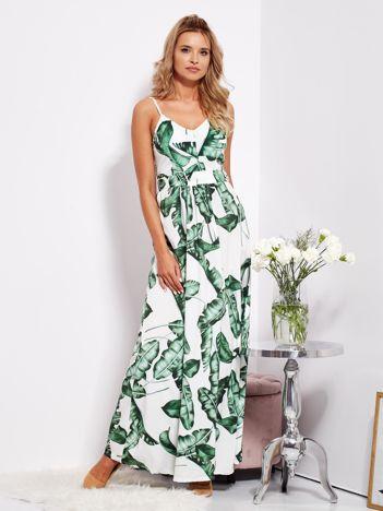 SCANDEZZA Biało-zielona maxi sukienka w liście z wiązaniem