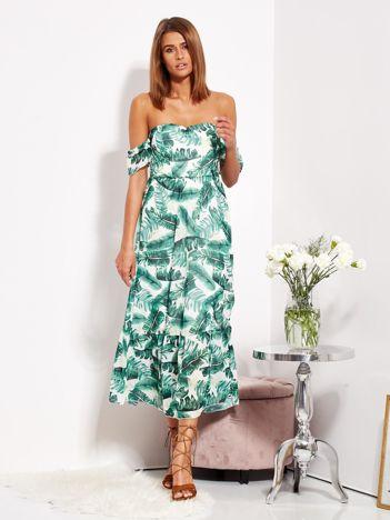 SCANDEZZA Biało-zielona sukienka maxi off shoulder w liście