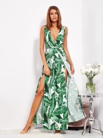 SCANDEZZA Biało-zielona wzorzysta sukienka maxi w liście