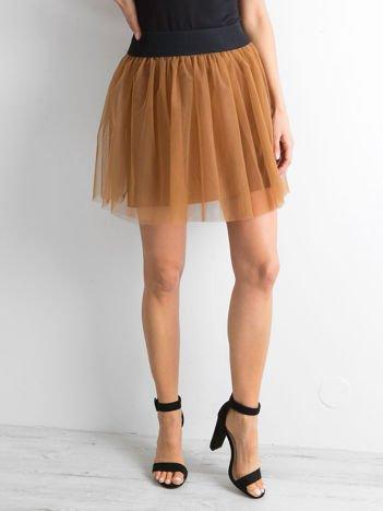 SCANDEZZA Brązowa tiulowa spódnica mini
