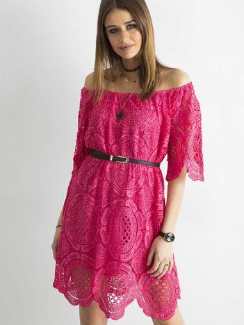 SCANDEZZA Ciemnoróżowa koronkowa sukienka hiszpanka